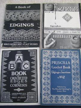 lot antique needlework booklets, vintage crochet lace edging patterns