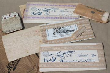 lot antique sewing trims, lace & embroidered cotton ribbon insertions w/ original Victorian labels