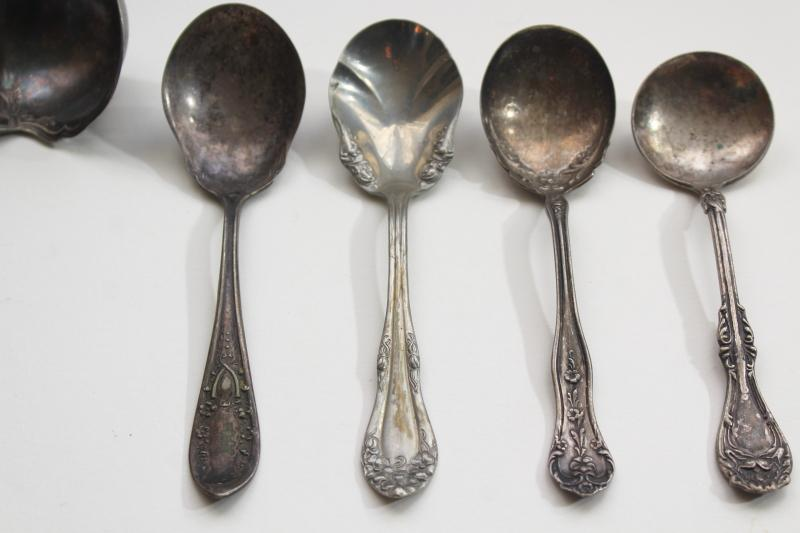 lot antique silver serving spoons & ladles, early 1900s vintage silverplate flatware