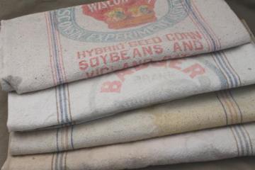 lot antique striped heavy cotton feed sacks grain bags, vintage farm primitive fabric