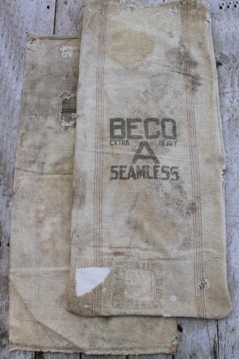 lot antique striped heavy cotton feed sacks grain bags, vintage farm primitive fabric