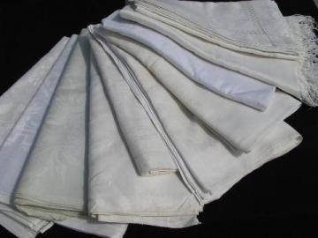 lot antique & vintage Irish linen & cotton damask table linens, 10 tablecloths