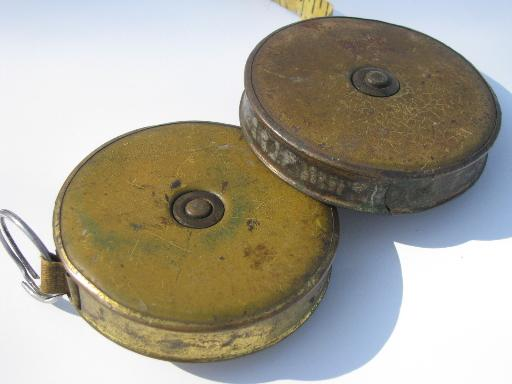 Lot Antique Vintage Lufkin 50 Foot Measuring Tapes Old