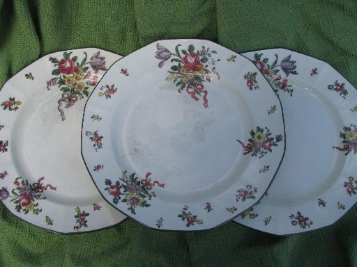 lot antique vintage Royal Doulton china Old Leeds Sprays plates and bowls & lot antique vintage Royal Doulton china Old Leeds Sprays plates and ...