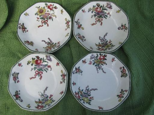 lot antique vintage Royal Doulton china, Old Leeds Sprays plates and bowls
