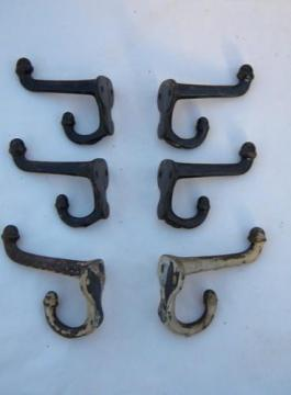 lot antique vintage architectural coat hooks w/ acorn finials & old paint