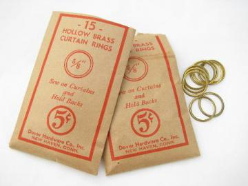 lot antique vintage brass curtain rings, 5/8'', original Dover hardware pkgs