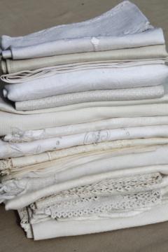 lot antique vintage linen & cotton towels w/ white work embroidery, crochet lace edgings
