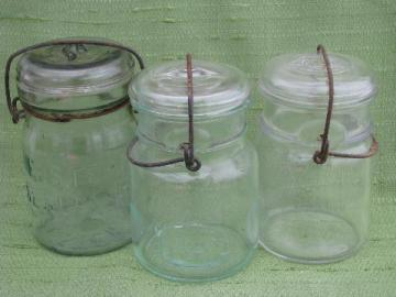 lot antique vintage pint canning jars, glass lightning lids w/ wire bails