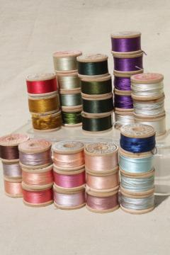lot antique vintage pure silk buttonhole twist embroidery sewing thread