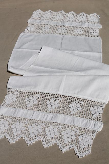 Lot Antique Vintage Table Runners Or Towels W Lace