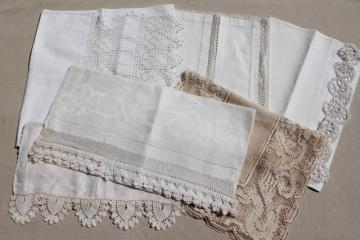 lot antique vintage table runners or towels w/ lace, tatting, crochet edgings