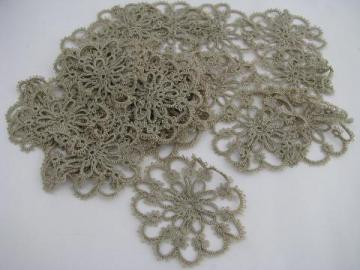 lot antique vintage tatted lace motifs, flowers in tatting, flax color cotton