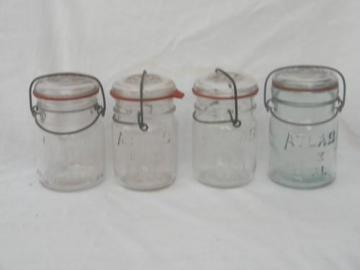 lot assorted vintage 1 pint mason jars w/glass and wire bail lightning lids