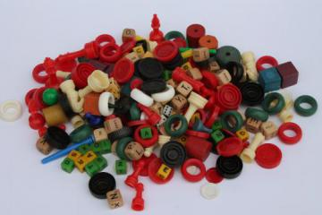 lot assorted vintage game parts - playing pieces, tiles, dice, chips & counters