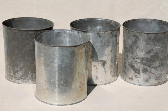 lot big old tin cans vintage zinc color rustic primitive