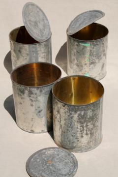 lot big old tin cans, vintage zinc color rustic primitive flower pot planters