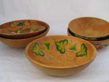 lot big shabby vintage wood bowls, old hand-painted flowers, fruit
