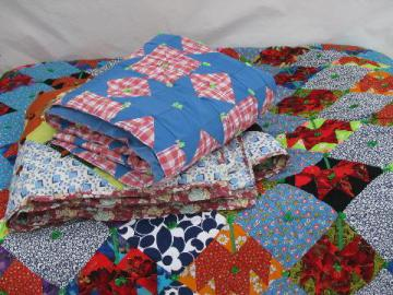 lot bright colors patchwork quilt tops, vintage 1970s, wild retro prints!