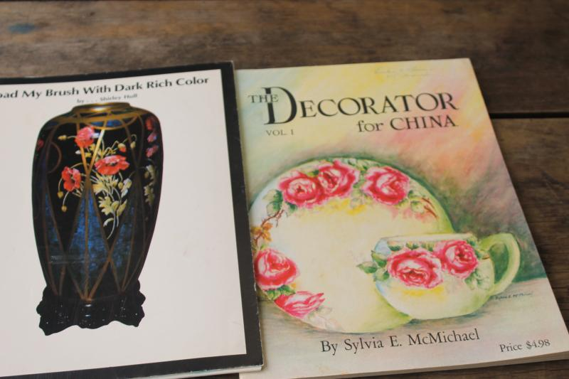 lot china painting books, illustrated instructions how to supplies brush stroke techniques