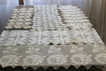 lot crochet lace runners for upcycle or vintage sewing trim, french brocante shabby chic