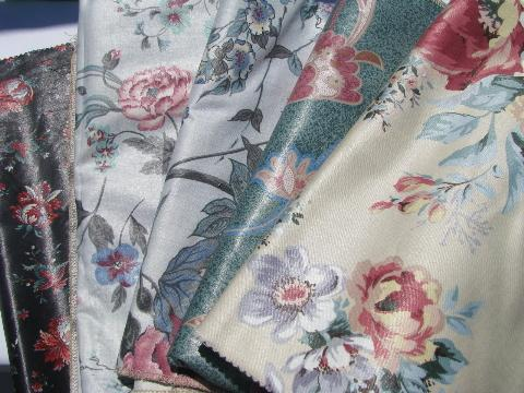 Lot Glazed Cotton Chintz Vintage John Wolf Floral Print