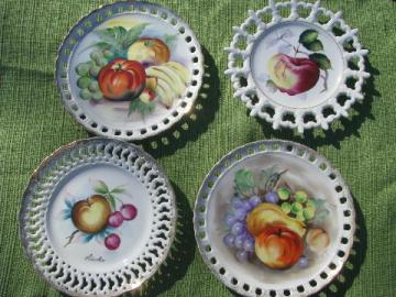 lot hand-painted fruit plates, pierced lace edge china, vintage Japan