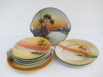 lot hand-painted porcelain plates, early 1900s vintage Japan, nature scenes