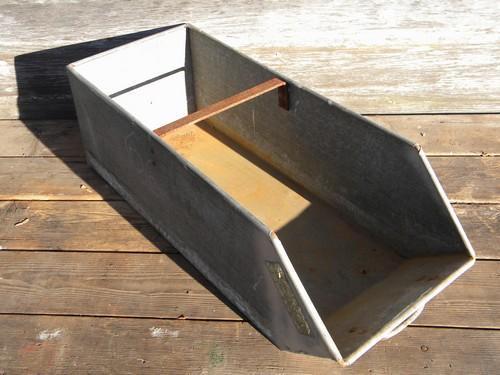 Lot Industrial Vintage Galvanized Steel Sloped Front Parts Storage Bins