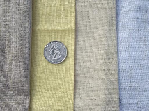 lot linen and linen weave cotton fabric for embroidery and needlework sewing