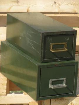 lot machine age industrial file boxes/card catalogs old olive drab paint