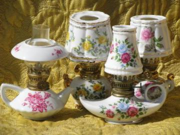 lot mini oil lamps, flowered china w/ glass shades, vintage Japan