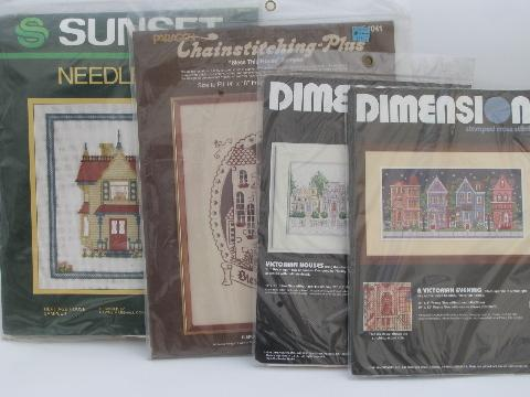 lot needlepoint and cross-stitch embroidery kits, Victorian houses