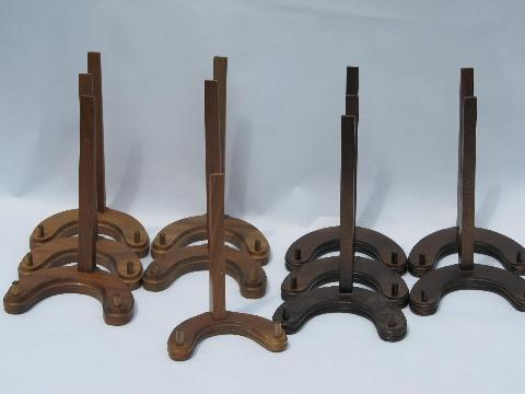 & lot new old stock walnut wood plate racks collector\u0027s display stands