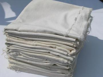 lot of 12 old feed sack bags, vintage plain cotton fabric flour sacks