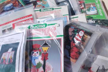 lot of 12 sealed needlework kits, Christmas plastic canvas crafts decorations to make