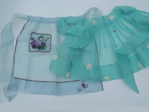 lot of 15 fancy frilly vintage sheer cotton aprons, Sweetheart label