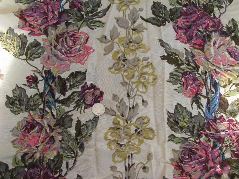lot of 1950s vintage rayon drapery material, retro fabric lot