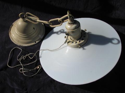 lot of 2 antique industrial or office pendant lights w/glass reflector shades & early Mazda bulbs