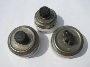 lot of 3 antique architectural & industrial rotary light switches, General Electric & Arrow