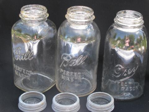 lot of 3 assorted vintage 2 quart mason jars for storage canisters