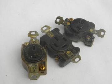 lot of 3 old industrial vintage unusual Hubbell electrical sockets