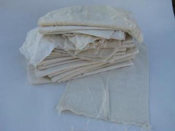 lot of 30+ old cotton fabric bags, small vintage flour - sugar - salt sacks