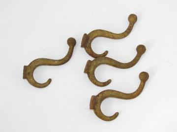lot of 4 antique arts and crafts vintage cast-iron architectural hall tree coat hooks