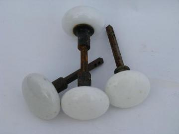 lot of 4 antique vintage architectural white ironstone porcelain doorknobs