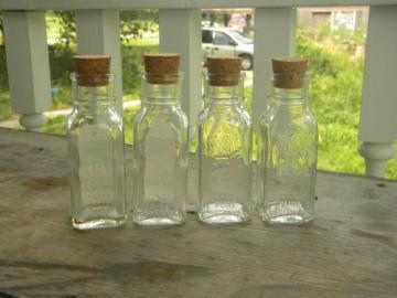 lot of 4 glass Honey Acres bottles w/cork stoppers for breakfast table
