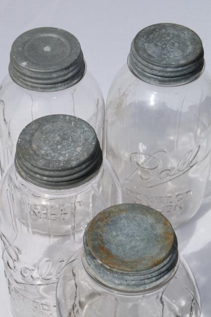 lot of 4 vintage two quart Ball Perfect Mason jars w/ antique zinc metal lids