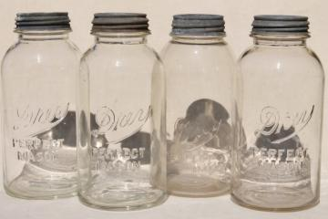 lot of 4 vintage two quart Mason jars w/ antique zinc metal lids