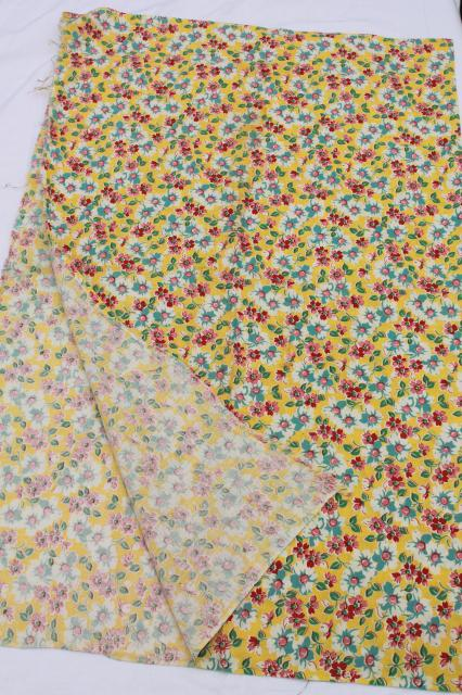 lot of 40s 50s vintage fabric feedsacks, print cotton feed sack collection, all flowers