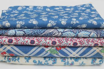 lot of 40s vintage scrap fabric, quilting print cotton & feed sack fabrics